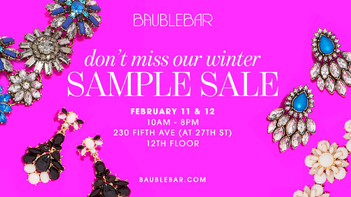 Women's jewelry at a discount at the Baublebar Sample Sale.
