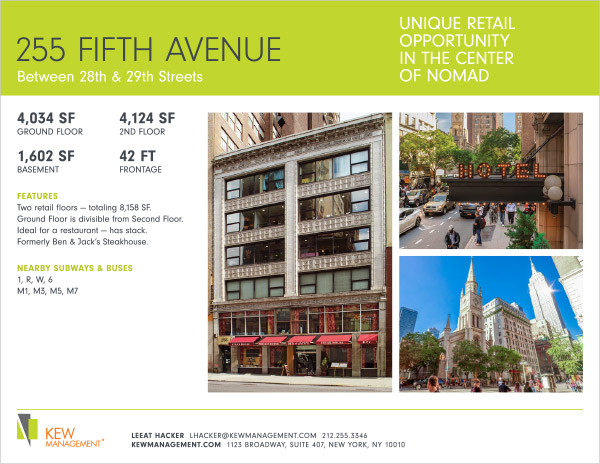 Second Floor Retail Space Available in NoMad, New York
