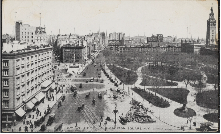 Fifth Avenue Hotel, Worth Square, and Madison Square Park in 1898