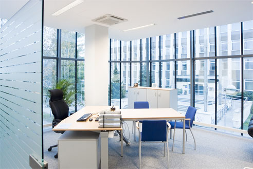 modern office space with window
